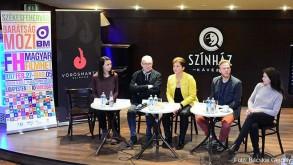 Törőcsik Franciska, Szikora János,, Juhász Zsófia, Lábodi Ádám és Tóth Ildikó a sajtótájékoztatón