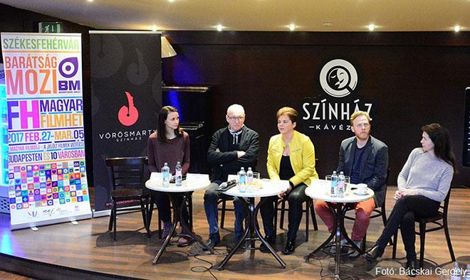 Törőcsik Franciska, Szikora János, Juhász Zsófia, Lábodi Ádám és Tóth Ildikó a sajtótájékoztatón
