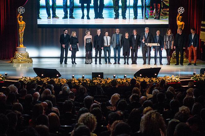 A legjobb játékfilm díját elnyert Testről és lélekről stábja a 3. Magyar Filmdíj gálán a Vígszínházban 2018. március 11-én. MTI Fotó: Balogh Zoltán